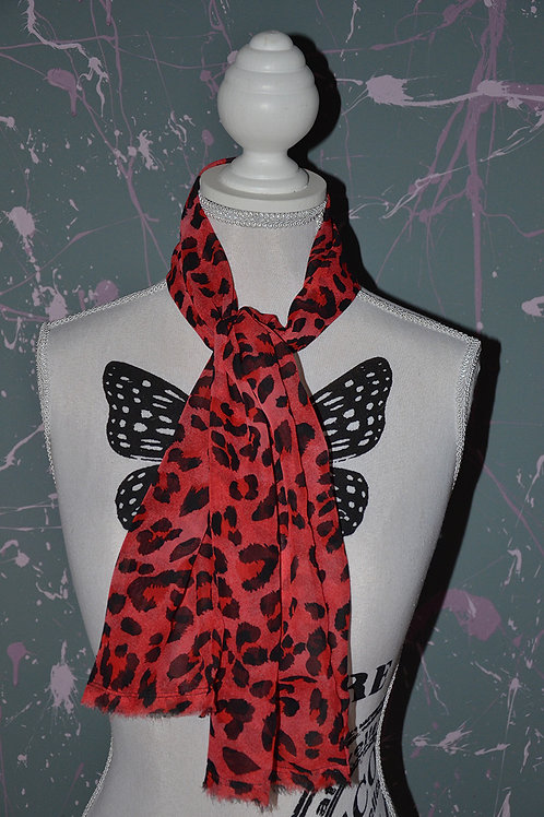 Foulard léopard rouge et noir