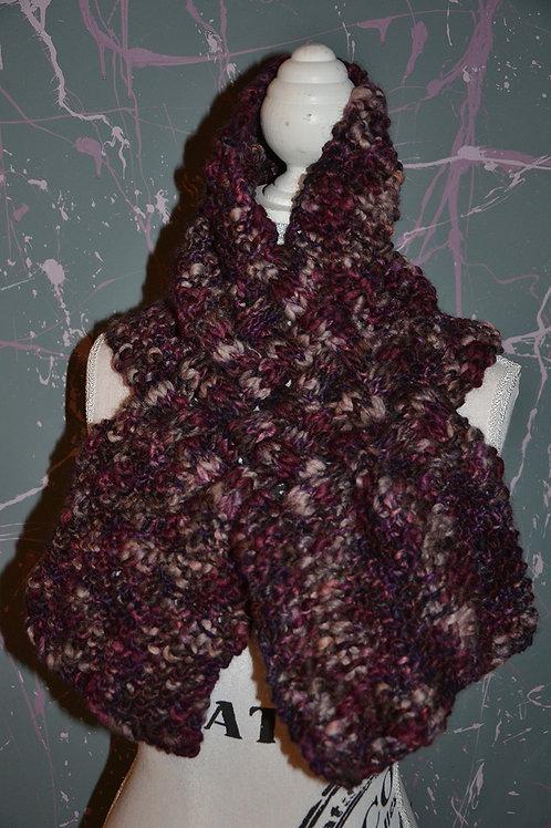 Snood echarpe tressée au tricot