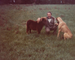 Twinkle as a foal with my beloved late Dad and Emma the Great Dane