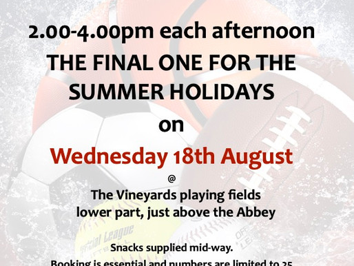 Don't miss the last sports and games session of the summer hols!             Tomorrow 2-4pm