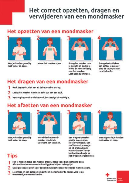 De affiche toont hoe je een mondmasker correct opzet, draagt en verwijdert