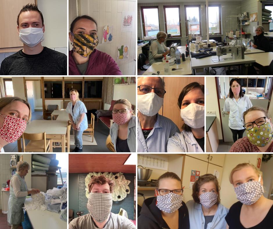 Een collage van medewerkers van Ter Heide met mondmaskers aan