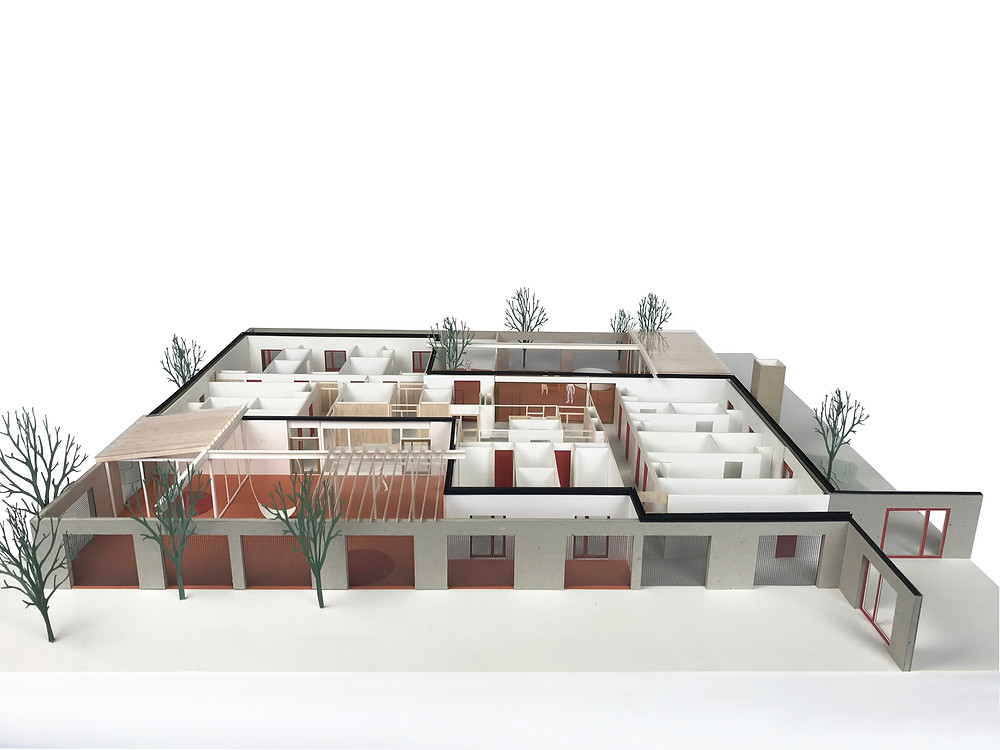 Maquette van de nieuwbouw GES-woningen