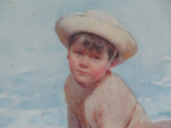 Water colour - boy playing cricket on a beach