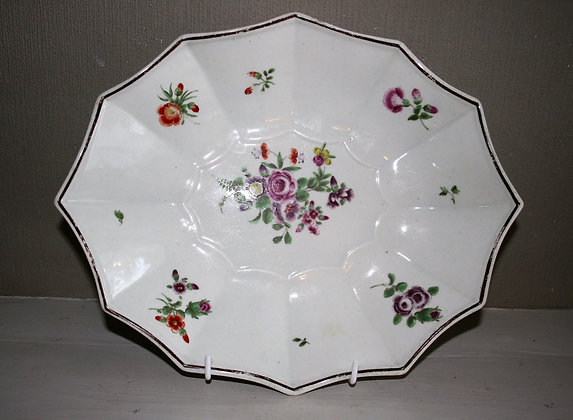 18thc Worcester/Bristol 12-Sided Plate