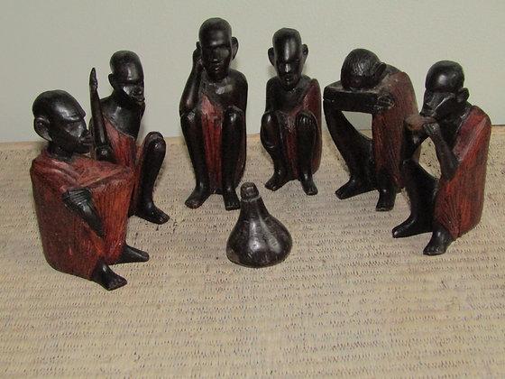 Vintage Hardwood Carved Masai Village Scene