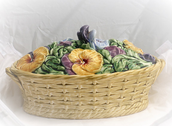 Sarreguimines Covered Bowl Decorated Pansies
