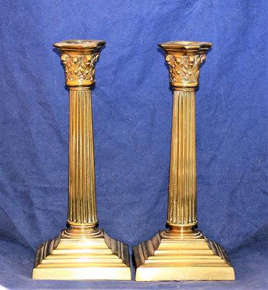 Antique Brass Corinthian Column Candlesticks