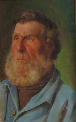 Early 20thc oil on board portrait of a bearded man