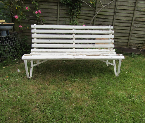 Large Edwardian Wrought Iron Garden Bench