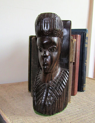 Pair of Carved African Wooden Bookends