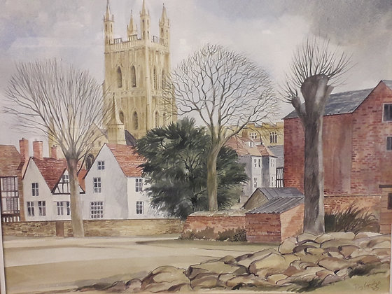 Roy Lapidge Watercolour Gloucester Cathedral