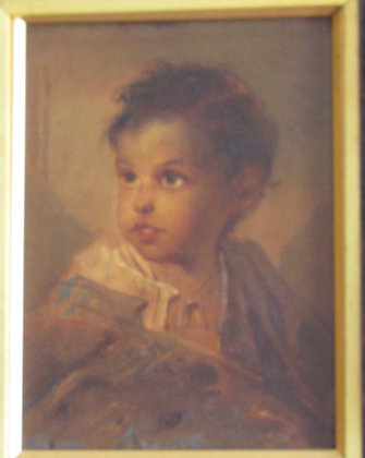 19thc oil on board, brown eyed child