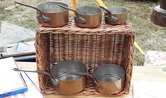A set of 5 Vintage French Copper Pans