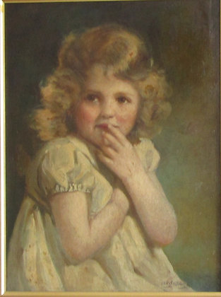 Chris Adams oil on board study of a child.