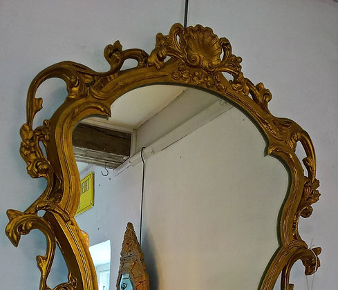 Antique Gilt Mirror, Scroll and Shell