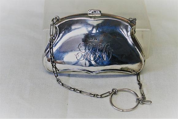 Edwardian Silk Lined Silver Purse