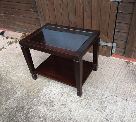 Contemporary Mahogany Side Table with Glass top