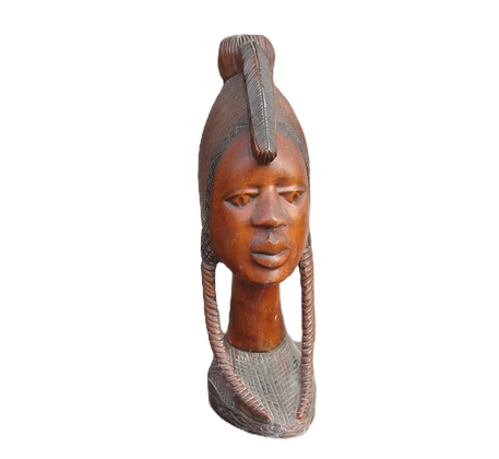 Large Hardwood Carved African Bust