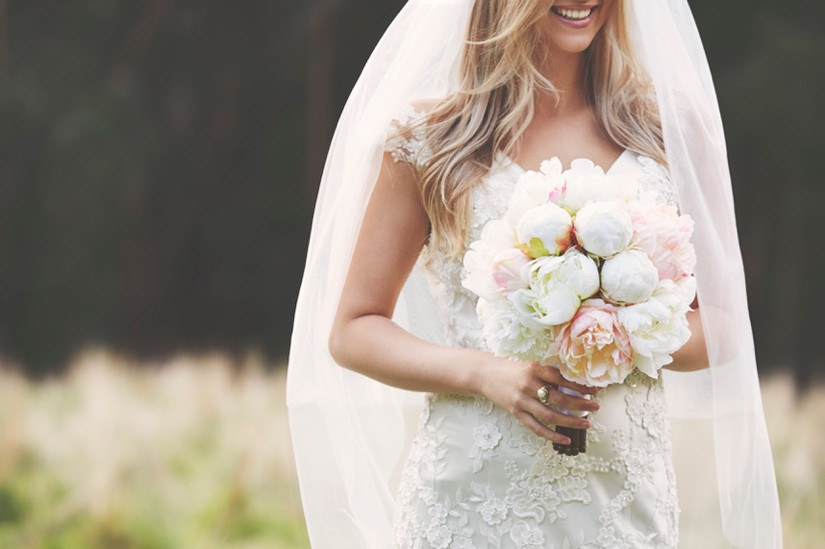 Silk peonies peony wedding bouquet artificial white blush light pink lace