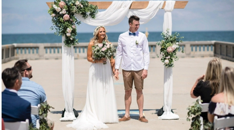 Elwood Bathers pier beach wedding Melbourne florist flowers