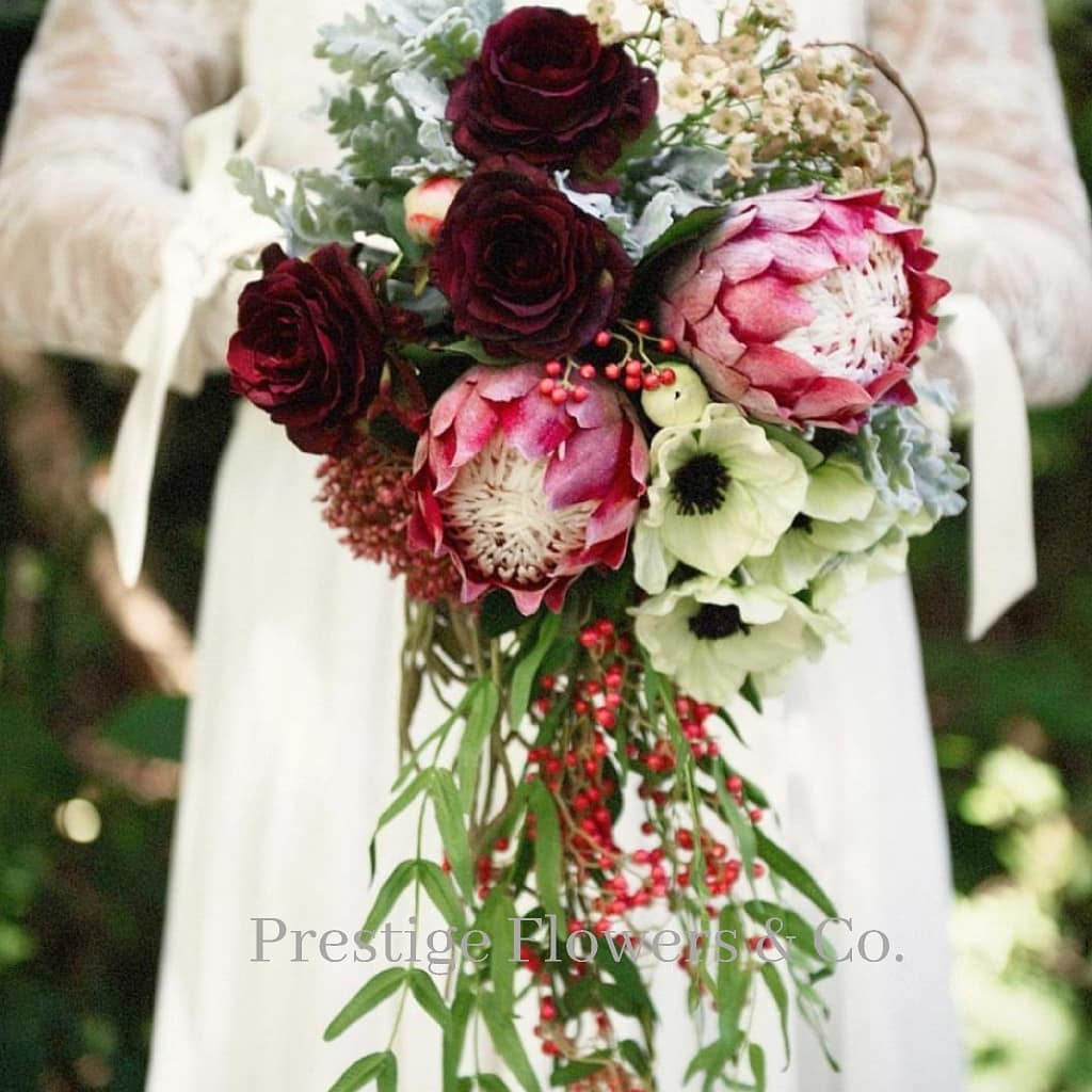 Rustic protea wedding bouquet artificial silk