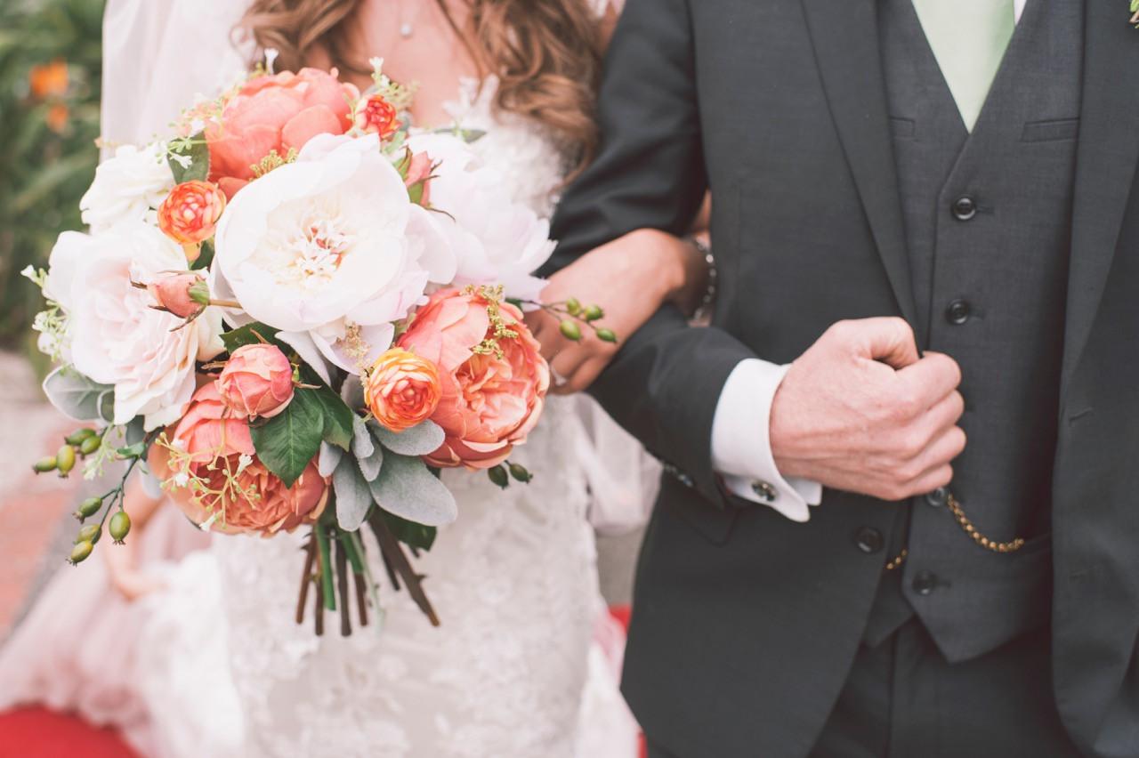 Rustic woodland wedding bouquet artificial silk flowers orange