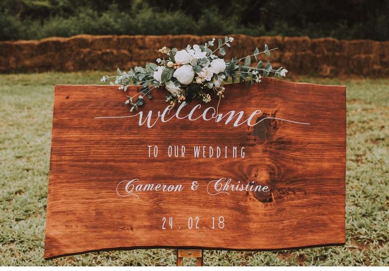 Wedding welcome sign arrangement flowers silk artificial
