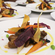 Braised Wagyu Beef Cheek with Red Wine Sauce, served with Edamame Beans & Honey Glazed Carrot