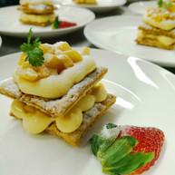 Mango Napoleon with Raspberries & Passion Fruit Sauce