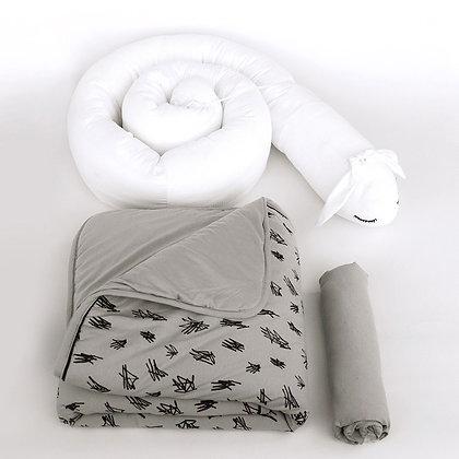 סט נחשוש למיטה - אורנים אפור מעודן