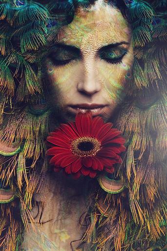 fantasy beautiful woman portrait with fl