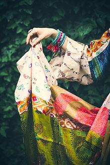 summer boho silky dress with woman hand