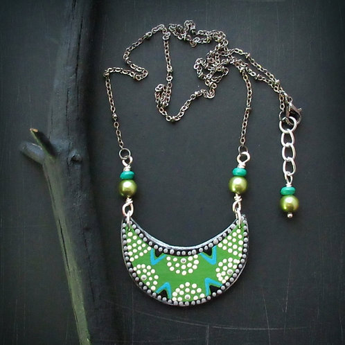 Polka Dot Paper Green Turquoise Silver Bib Pendant Chain Necklace