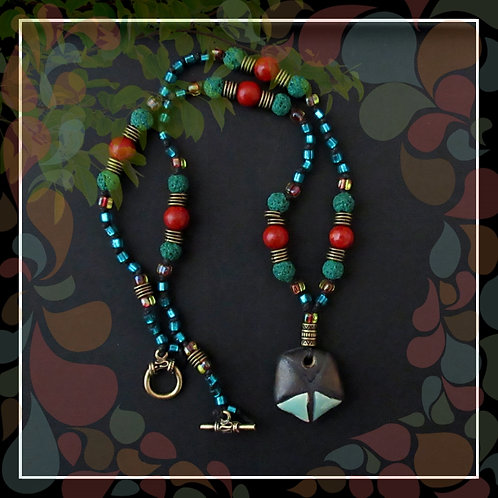 Tribal Rustic Knotted Cord Beaded Necklace/Teal Green Red Brown Brass