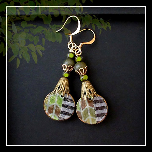 Striped Paper Drop Dangle Earring Lime Black White Brass Gold