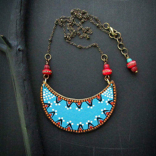 Tribal Turquoise Red Bronze Paper Bib Pendant Chain Necklace