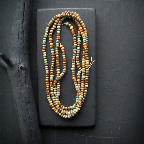 Rustic Picasso Finish Czech Glass Seed Bead Mix - Size 10 - 20 in. Strand