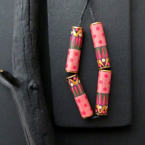 Polka Dot Paper Tube Bead Red Ivy Green Pink/Pkg. 4