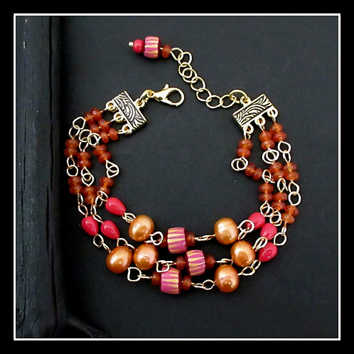 Boho Gypsy Bead Link Bracelet Orange Pink Coral Gold