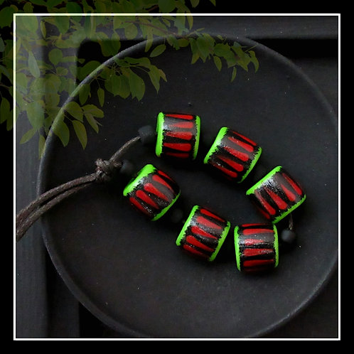 Tribal Stripe Polymer Rondelle Bead/Black Red Lime/11mm/Pkg. 6