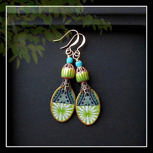 Floral Paper Oval Drop Dangle Earring/Turquoise Lime Navy Pink Gold