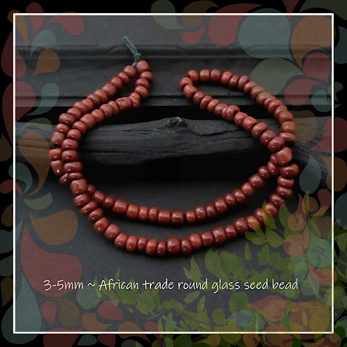 Brown African Trade Irregular Glass Seed Bead/3-5mm/Pkg. 12 in. Strand