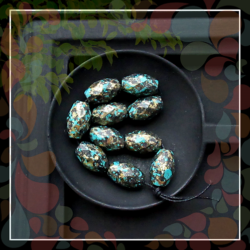 Bohemian Acrylic Faceted Oval Bead/Aged Patina Green Brass/13mm/Pkg. 10