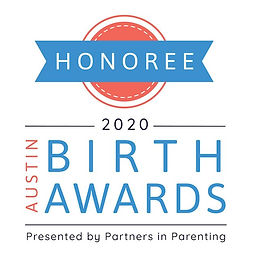 2020 Austin Birth Awards Winner badge for best birth professional