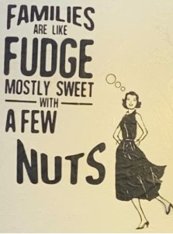 funny quote families are like fudge mostly sweet with a few nuts