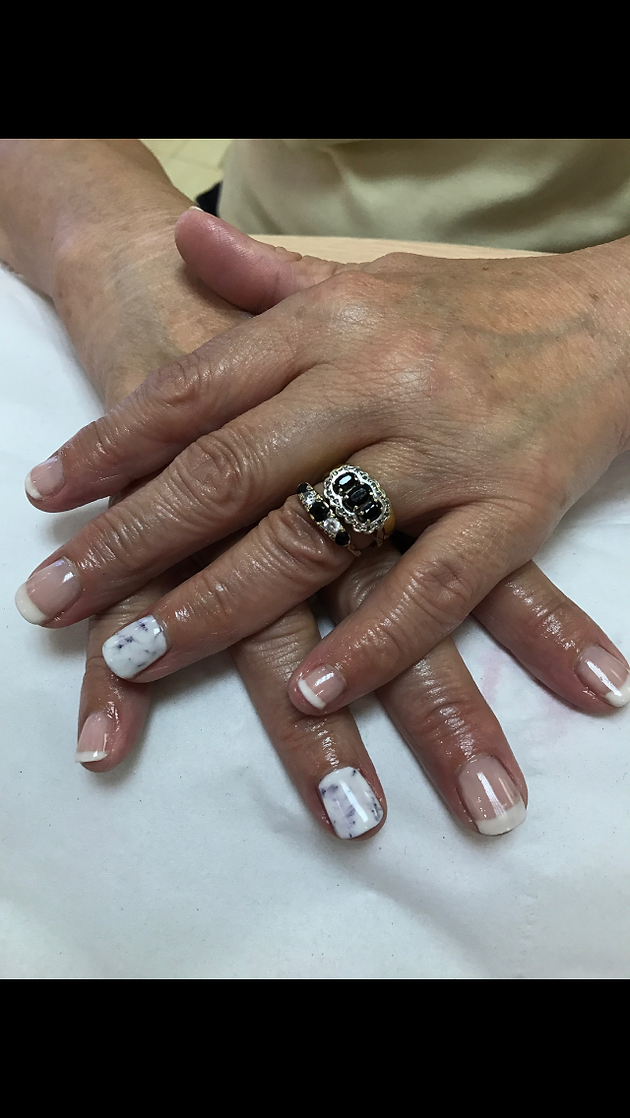 Jessica gel French polish & marble effect   Hatters Beauty Therapy ...