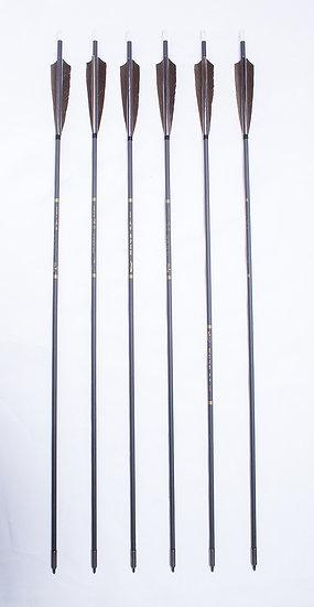 6pc Black Shaft Carbon Arrow (Field Point)