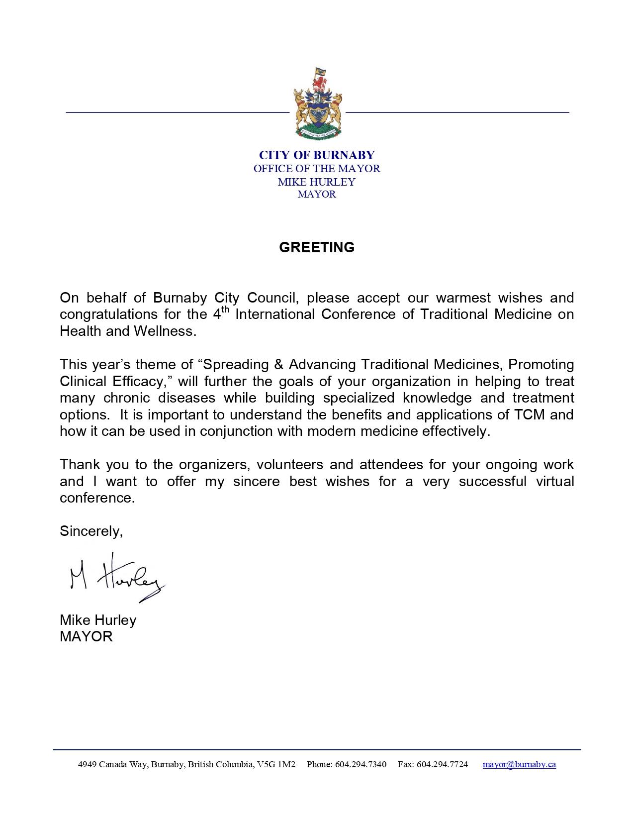 加拿大BC省本拿比市长Mike Hurley