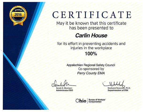 Carlin House Assisted Living - Safety Award